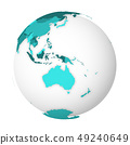 Blank political map of Australia. 3D Earth globe with turquoise blue map. Vector illustration 49240649