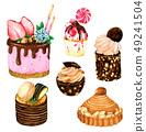 Set of watercolor Cakes. Vector watercolor 49241504
