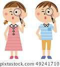 Pop boy and girl summer clothes magnifying glass 49241710