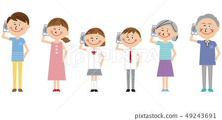 Pop 3 Generation Family Calling with Mobile Phone 49243691