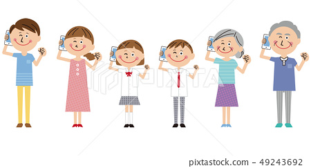 Pop 3 Generation Family Holding a Mobile Phone 49243692