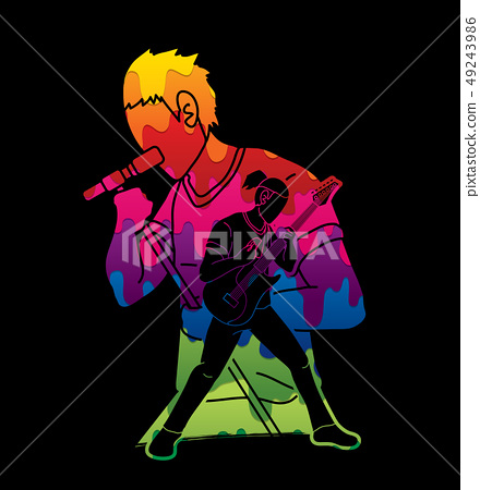 Musician playing music together, Music band vector 49243986