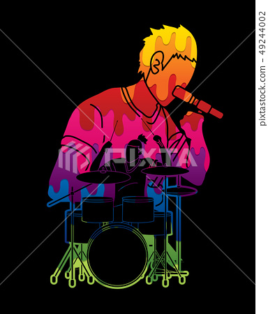 Musician playing music together, Music band vector 49244002