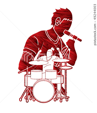 Musician playing music together, Music band vector 49244003