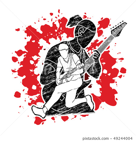 Musician playing music together, Music band vector 49244004