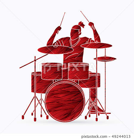 Musician playing Drum, Music band graphic vector 49244013