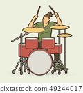 Musician playing Drum, Music band graphic vector 49244017