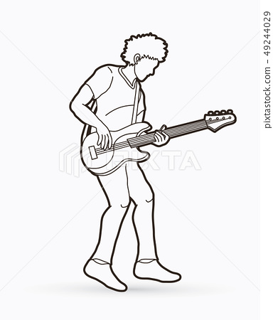 Musician playing bass, Music band graphic vector 49244029