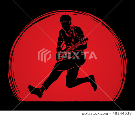 Musician playing electric guitar Music band vector 49244039