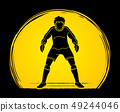 Goalkeeper prepare catches the ball graphic vector 49244046