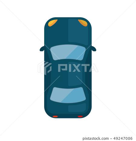 汽車(從上面俯瞰)插圖(深藍色) 49247086