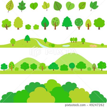 樹和葉子裝飾例證集合 49247262