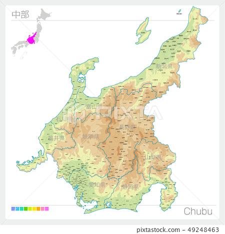 Chubu Chubu地圖(等高線/顏色編碼) 49248463