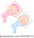 Cute Baby boy and girl sleeping icon illustration 49248513