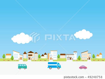 배경 소재 - 주택, 자동차 1 49248758
