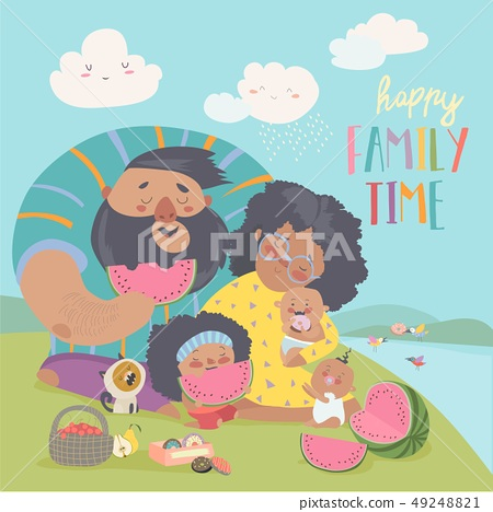 Happy family on a picnic. Dad, mom,daughter and babies are resting in nature 49248821