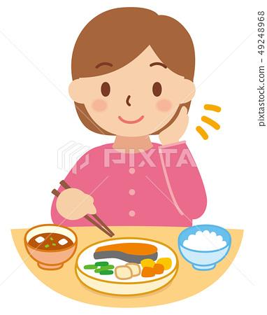 ผู้หญิงที่กินข้าว 49248968