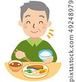 คุณปู่กำลังกินอาหาร 49248979