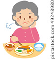 식사를하기 곤란 얼굴의 할머니 49248980