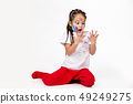 little child girl with hands painted in colorful paint 49249275