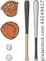Baseball equipment set illustration 49249427