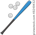 Baseball bat and ball 49249432