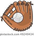 Baseball glove and ball 49249434