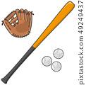 Baseball bat and glove and ball 49249437