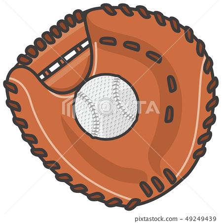 捕手的手套和球 49249439