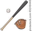 棒球棒和手套和球 49249440