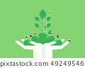 Hands with green plant and people for nature help 49249546