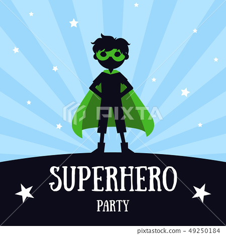 Superhero Party Banner, Cute Boy in Green Superhero Costume and Mask, Birthday Invitation, Landing 49250184