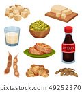 Collection of soy products on white background. 49252370