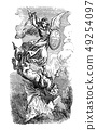 Vintage Drawing of Biblical Archangel Michael Fighting With Satan as Dragon 49254097