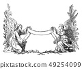 Vintage Drawing of Two Angels Holding Decorative Ribbon 49254099