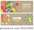 Seafood Restaurant Menu with Delicious Fesh Fish 49254902