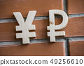 Exchange rate. Wooden yuan or yen and broken ruble symbol on brick wall background 49256610