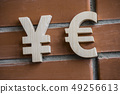 Exchange rate. Wooden yuan or yen and euro symbol on brick wall background 49256613