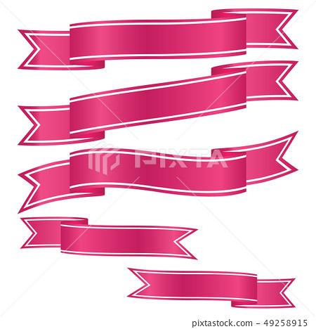 set of pink ribbon banner icon 49258915