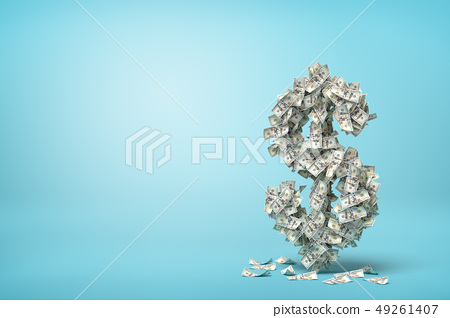 3d rendering of big dollar sign made of banknotes on blue background 49261407
