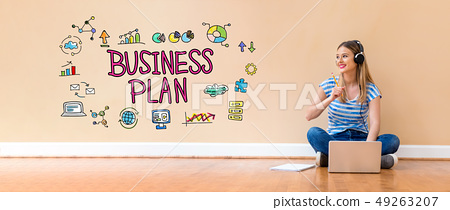 Business plan with woman using a laptop computer 49263207