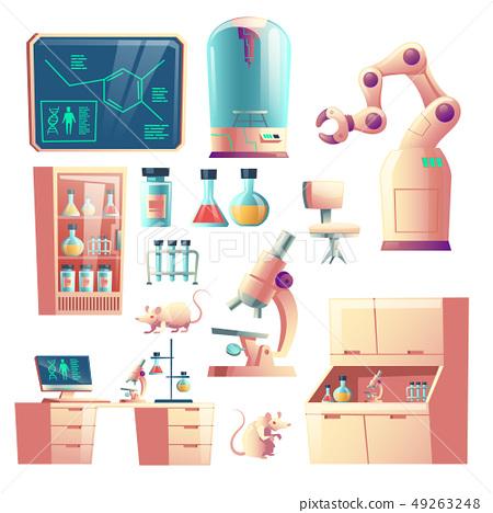 Future science lab equipment cartoon vector set 49263248