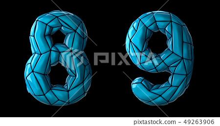 Number set 8, 9 made of blue color plastic. 49263906