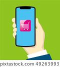右手與智能手機的插圖|購物車圖標|智能手機的手 49263993