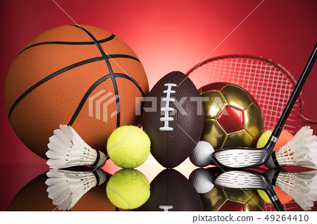Group of sports equipment, Winner background 49264410