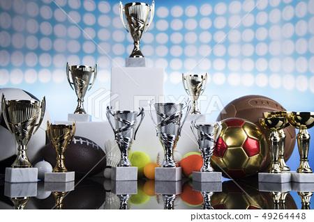 Podium, Winner trophy, Sport equipment and balls 49264448