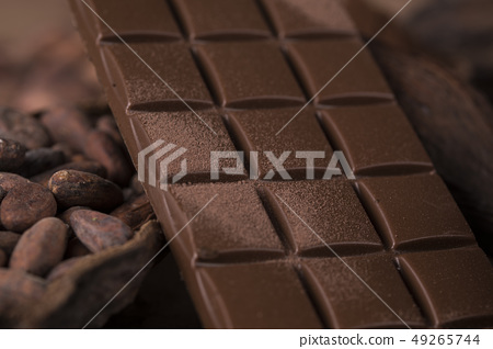 Chocolate bar, candy sweet, cacao beans and powder 49265744