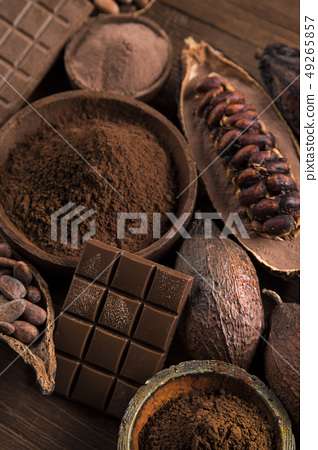 Cocoa pod, Chocolate sweet background 49265857