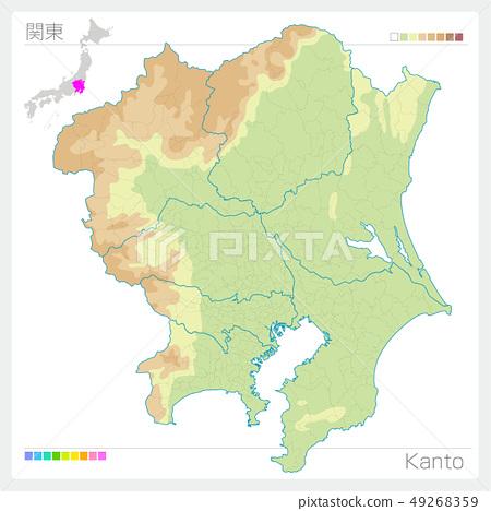 관동의지도 · Kanto (등고선 · 색) 49268359