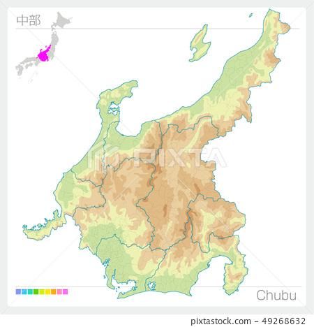 Map of Chubu Chubu (contour line / color coding) 49268632